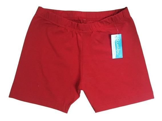 Mini Short Calza Colegial Rojo Talle 4-16 Algodón C/lycra