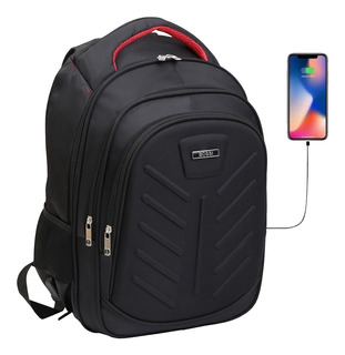 Mochila Porta Notebook 17 Tablet Usb Acolchada Urbana Smart