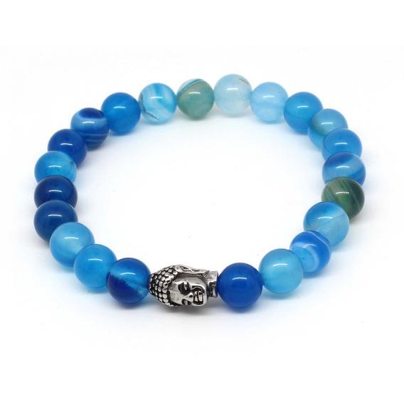 Pulseiras Masculinas Ágata Azul Claro Escuro Pedras Naturais