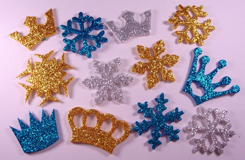 50 Piercings Adesivos Pet Eva Glitter Frozen