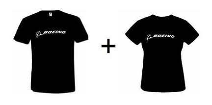 Kit Camiseta Boeing Feminina E Masculna Preta Frete Gratis