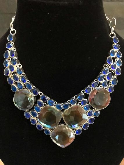 Collar Turmalina Bicolor, Zafiro Azul, Plata 925 100% Natura