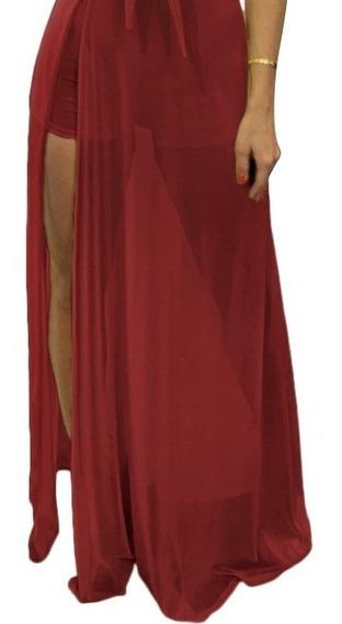 Vestido De Fiesta Falda De Gasa Larga Y Top Cuello Alto