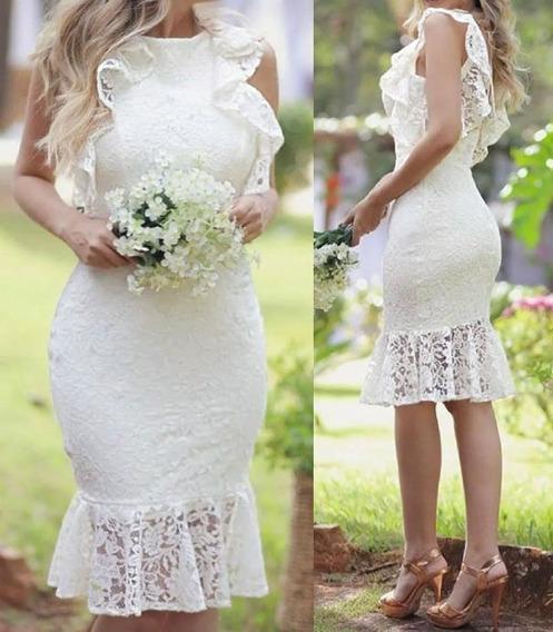 Vestido Midi, Renda, Noiva, Casamento Civil Pre Wedding 080