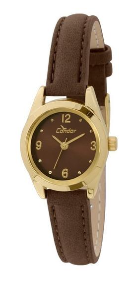 Relógio Feminino Condor Dourado Original Pulseira Marrom