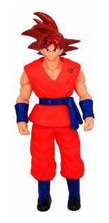 Dragon Ball Super Figura Goku Sayayin Dios Rojo Luz Led 25cm