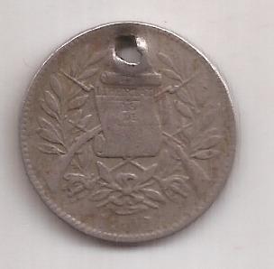 Guatemala Antigua Moneda De Niquel 1 Real 1901