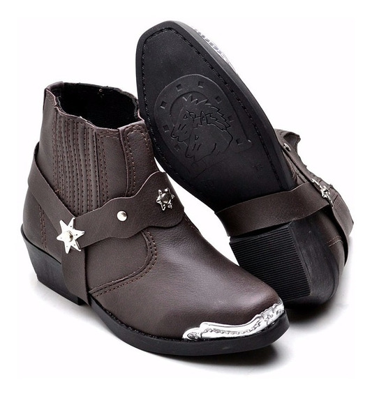 Bota Botina Infantil Country Kids Couro Texana Confort Boots