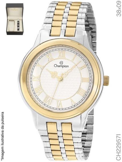 Relógio Champion Misto + Kit Com Pulseira Em Couro Ch22957i