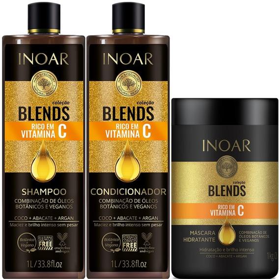 Kit Shampoo Condicionador 1 Litro E Máscara 1kg Inoar Blends