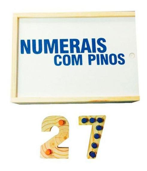 Brinquedos Educativos - Numerais Com Pinos 54 Peças