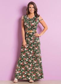 Vestido Longo Com Tule Floral Moda Evangélica Frete Grátis
