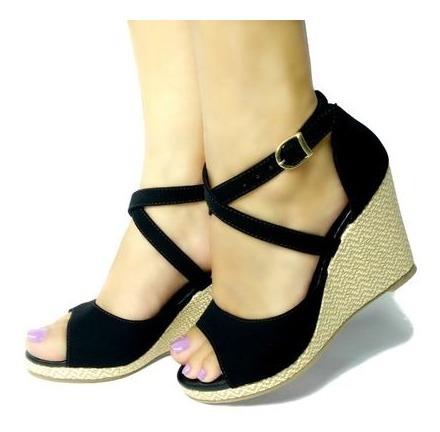 Sandália Plataforma Preta Salto Alto Meia Pata Elegante