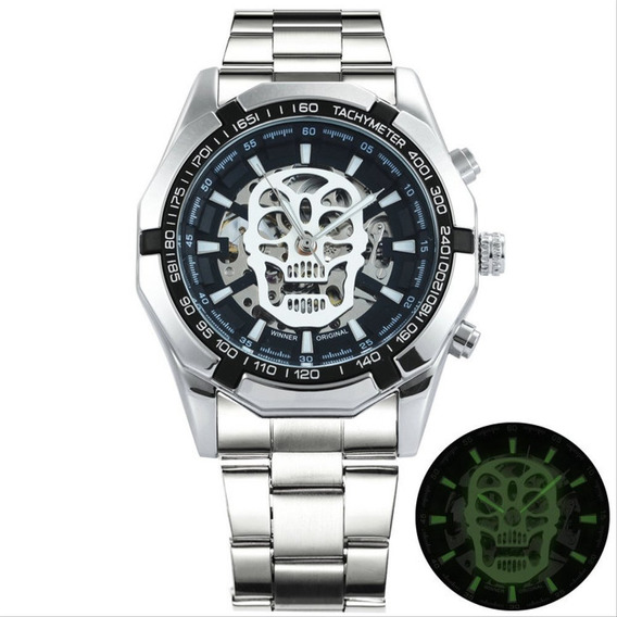 Relógio Caveira 3d, Skull Aço Inox Com Caixa Resistente Água