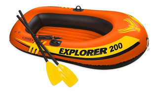 Lancha Explorer 200 Intex Remos Y Bomba Envio Gratis