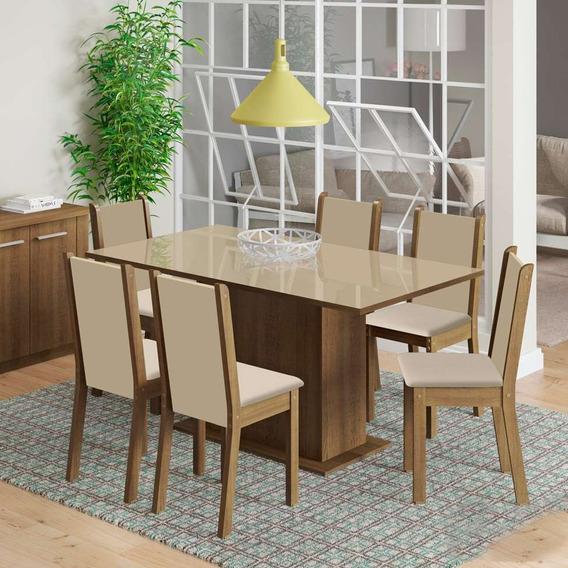 Conjunto De Mesa Com 6 Cadeiras De Jantar Anis Linho Rúst...