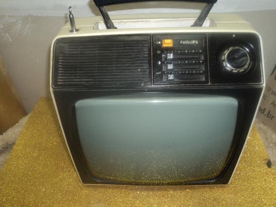 Tv /televisao Antiga Phlips Portatil/ P/branca/c/alça /10pol