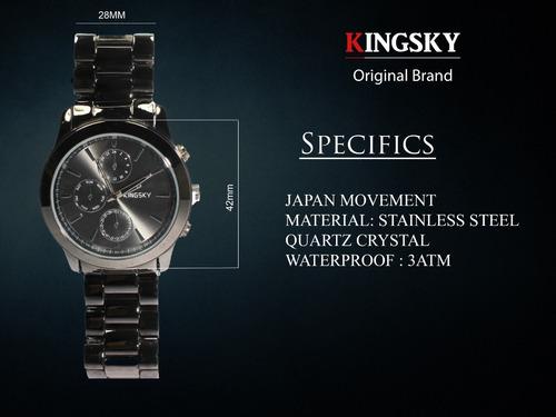 Imagen 1 de 10 de Reloj Kingsky Original Hombre Casual Negro Envio Gratis Acero Inoxidable