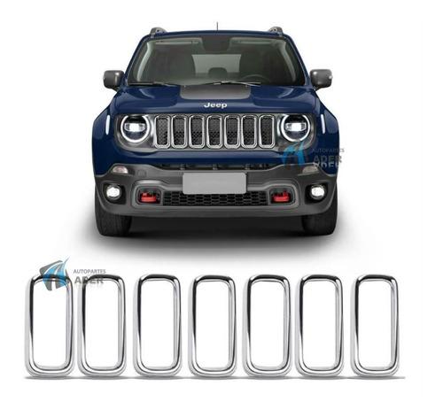 Juego De Aros Cromados De Parrilla Jeep Renegade 2019 2020