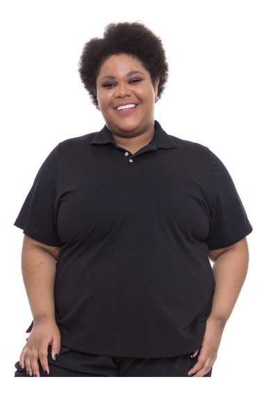 Camiseta Gola Polo Plus Size Wonder Size Preta