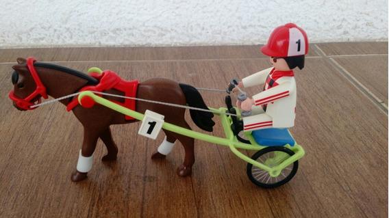 Corredor Cavalo E Charrete Playmobil Otimo Estado