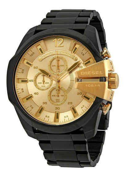 Reloj Diesel Dz4485 Mega Chief Black Gold Dial 59mm For Men
