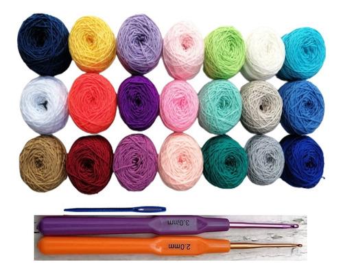 Kit De Crochet 21 Hilos Macramé Wayú, 2 Agujas, Aguja Lanera