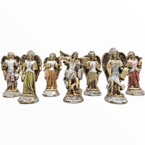 Imagen 1 de 1 de Juego De 7 Arcángeles Dorados 10cm