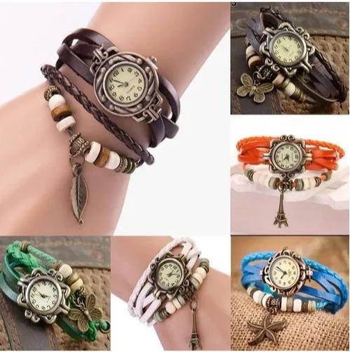Relógios Pulseira De Couro, Com Pingente Vintage Feminino