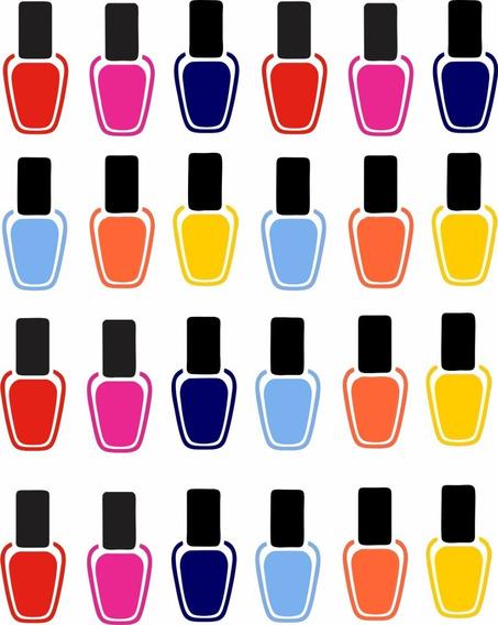 Adesivo Parede Salão Beleza Manicure Kit Esmalte Unhas 2