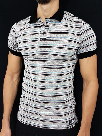Chemise Casual Masculina Con Lineas Y Unicolor Hombre