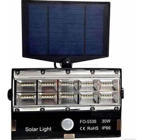Refletor Micro Led 30w Com Rele Fotoelétrico Placa Solar
