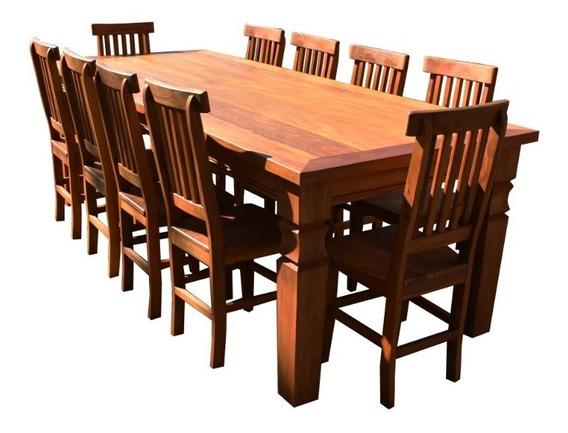 Mesa De Jantar 10 Cadeiras Madeira Maciça Peroba Rosa Linda