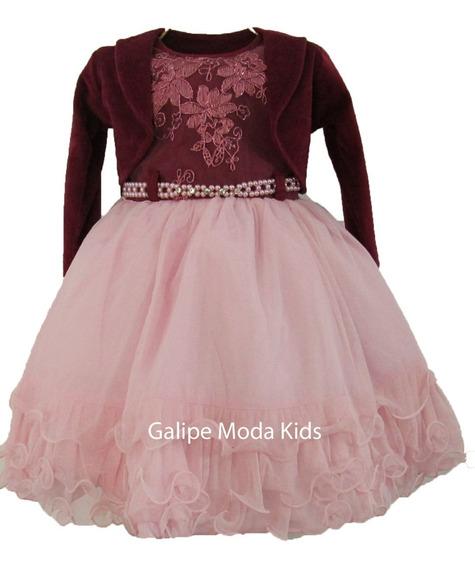 Vestido Infantil Rosa E Vinho C Bolero Inverno 1 Ao 3