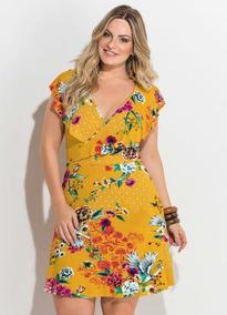 7228777360 Vestido Transpassado Verão Floral Plus Size Roupas Femininas