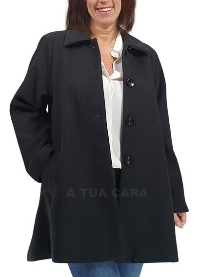 Tapado Paño Mujer Abrigo Sacon Talles Grandes Amplios