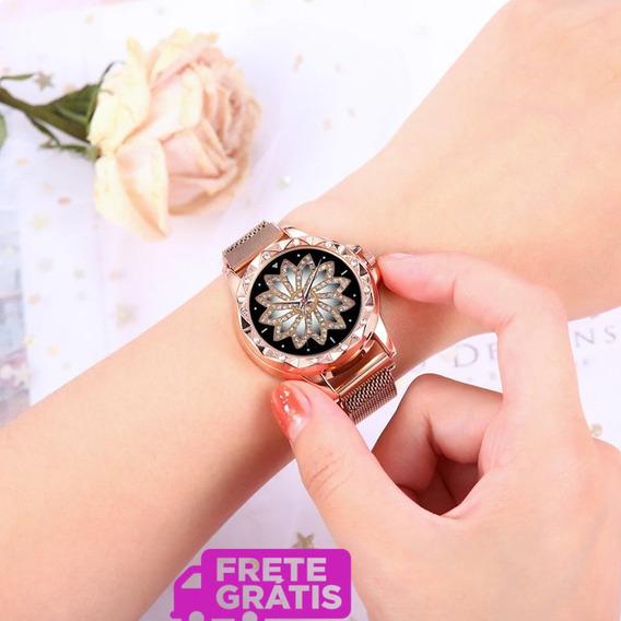 Relógio Feminino Mandala Pulseira Magnética Frete Grátis!