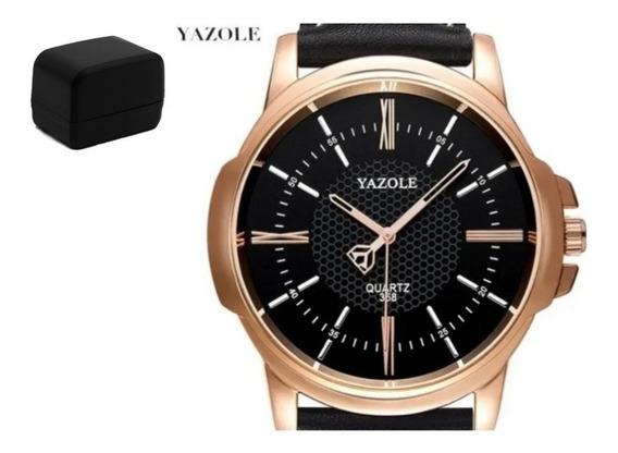 Relógio Yazole Original Couro Legítimo Quartzo Luxo Promoção