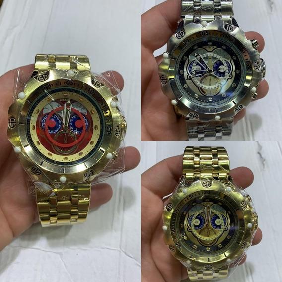 Relógio Masculino Em Aço Dourado Prata Robusto Pesado +caixa