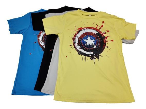 Camiseta Infanto Juvenil Capitão América De Algodão