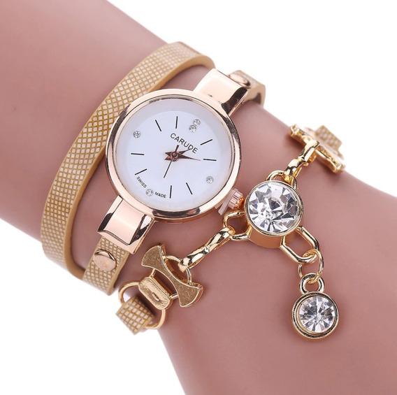 Relógio Feminino Pulseira Dourado Luxo Redondo Barato Bonito