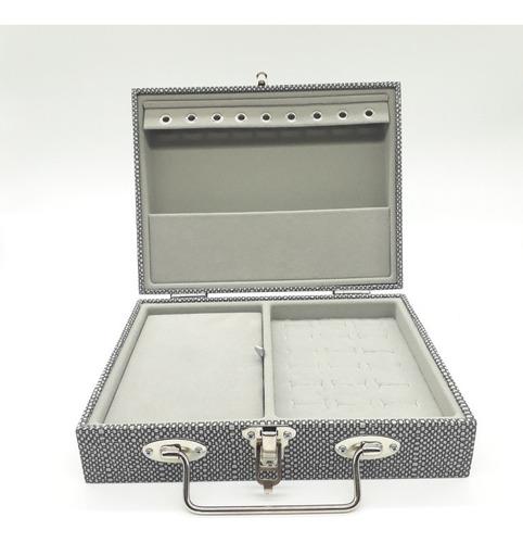 Maleta Porta-jóias Pequena Simples Chapiscada Cinza