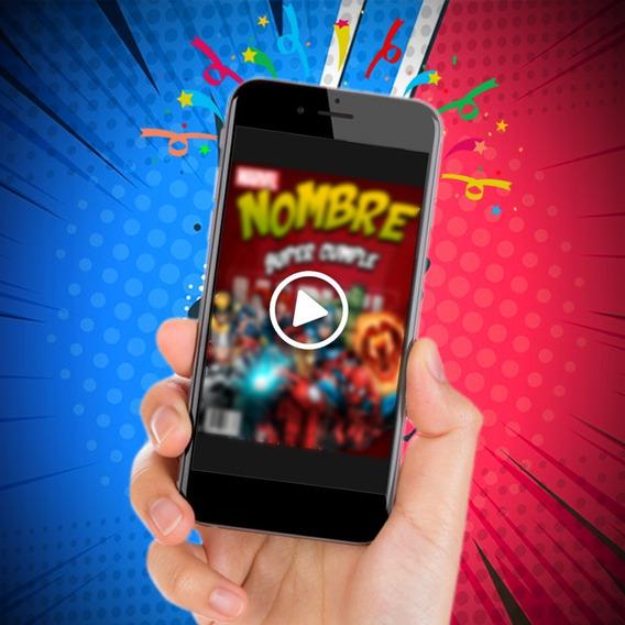 Video Invitación Digital Animada Superheroes Tipo Comics