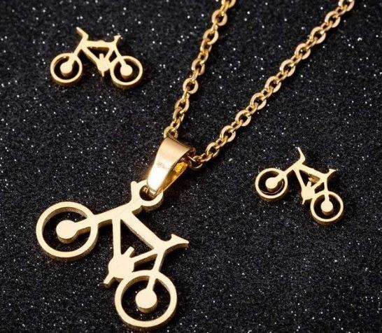 Set Aretes Y Collar Bicicleta Acero Inoxidable