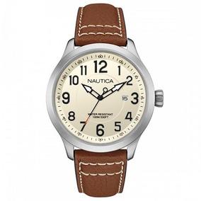 Relógio Nautica Masculino Couro Marrom - Nai10005g