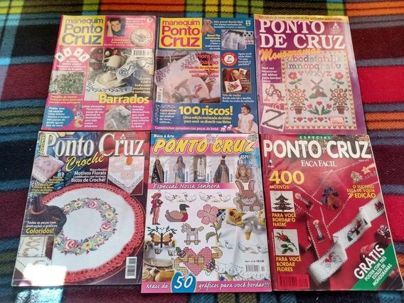 Lote 6 Revistas Antigas Artesanato Ponto Cruz + Brindes