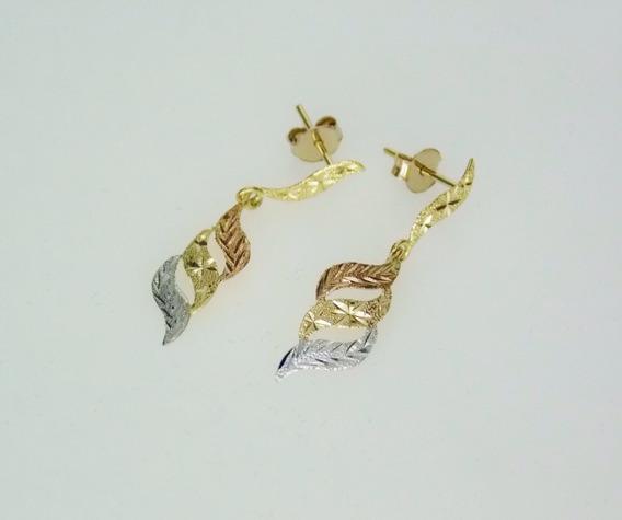 Brincos Femininos Folhas Tricolores Em Ouro 18k