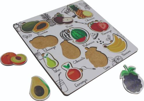 Imagem 1 de 2 de Tabuleiro Jogo Encaixe Didático Fruta Frutas