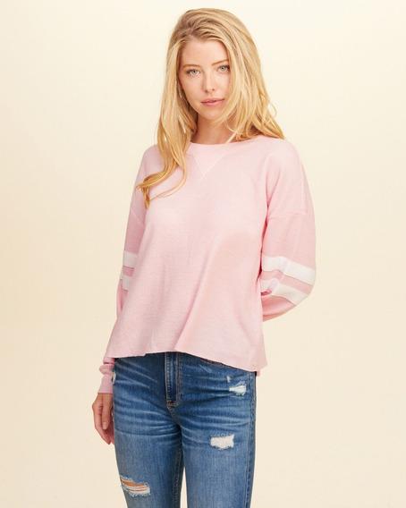 Camiseta Feminina Hollister Rosa Original & Importada