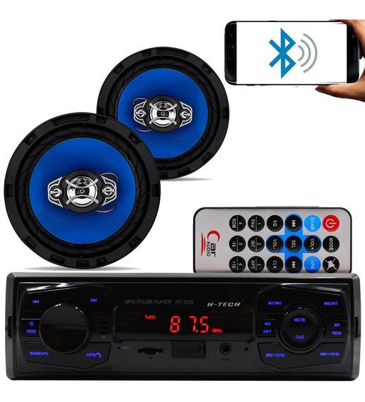 Kit Som Carro Radio Mp3 Bluetooth Usb + 2 Alto Falante 6 Pol